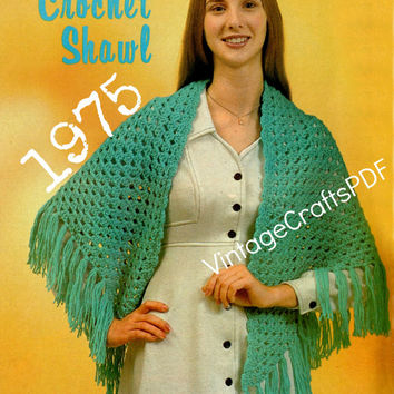 1975 Crochet Pattern-Easy Shawl Pattern-Great Beginner Crochet Pattern-Airy Summer Shawl-Spring Shawl-Fast Crochet-Vintage Crafts PDF-USA