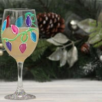 Set of 4 Christmas Lights Wine Glasses / Hand Painted Wine Glasses / Christmas Wine Glasses