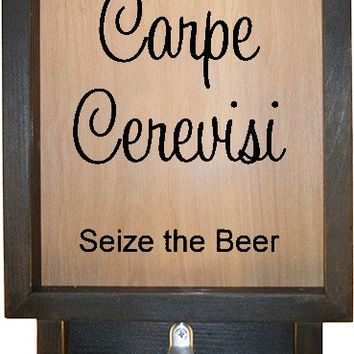 "Wooden Shadow Box Bottle Cap Holder with Bottle Opener 9""x15"" - Carpe Cerevisi"