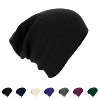 Men Knitted Beanie Cap Solid Color Hat Unisex Plain Warm Soft Beanie Winter Ski Slouchy Chic Cap Skull Knit Cap Knitted Touca Gorro Caps [8426595463]