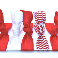 Elastic Hair Ties (5) Yoga Tie Bracelets - Like Emi Jay Hair Ties - Gentle Ponytail Holders - Red Chevron Hairties - Red & White Team Colors
