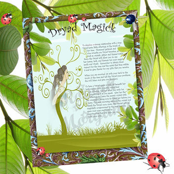 DRYAD MAGICK Digital Download, , Wishing Spell, Faerie,  Book of Shadows Page, Grimoire, Scrapbook, Spells
