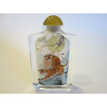 Interior Painted Glass Snuff Bottle Amber Stopper Moon Over Tiger