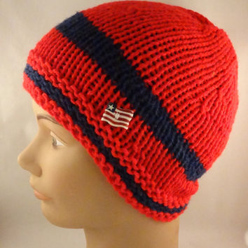 Knit  Beanie, Red and Navy knit hat, Patriotic knit hat.