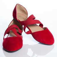 In Step Cross Strap Ballet Flats - Red