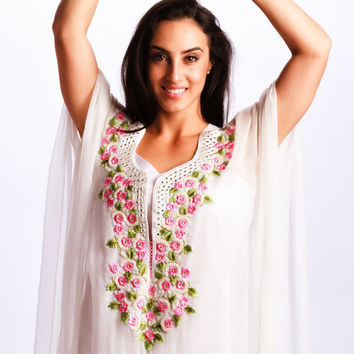 white beach kaftan dress  embroidered Neck Long Caftan Dress / Cover Up 100% chiffon floral dress for beach/weddings/bridesmaids
