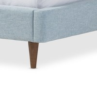Baxton Studio Hermia Mid-century Modern Sky Blue Fabric Platform Bed - 18468544 - Overstock - Great Deals on Baxton Studio Beds - Mobile