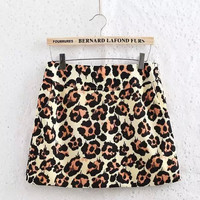 Leopard Print A-line Zipper Pocket Mini Skirt