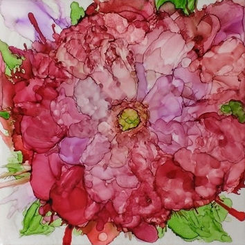 Pink Posy Alcohol Ink Painting on Ceramic Tile with Black Frame or Stand