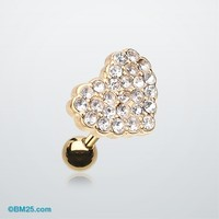 Golden Tiffany Heart Multi-Gem Cartilage Earring