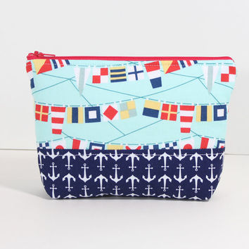 Makeup Bag Zipper Pouch Cosmetic Case Travel Bag with Navy Blue Anchor and Nautical Flag Fabric