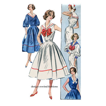 SAILOR DRESS PATTERN Nautical Dress Pattern 3/4 Sleeves VNeck Sailor Collar Bust 32 McCALLS 4142 1950s Vintage Women's Sewing Patterns UNCuT