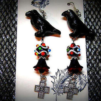 "Gothic Earrings, Crows, Lampwork Beads, Acrylic Flowers, Handmade Goth Earrings ""One Of A Kind"""