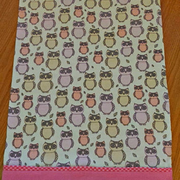 Flannel Pillowcase multi-color owls with a pink cuff