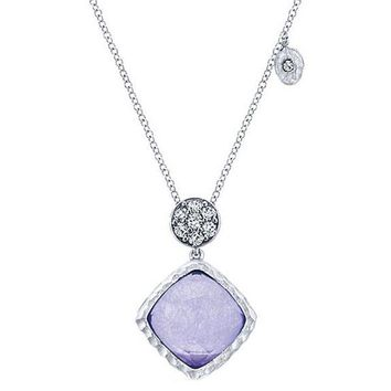 Gabriel Purple Jade and Rock Crystal Sterling Silver Pendant