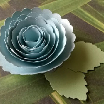 light blue Carnation boutonniere baby boy shower wedding anniversary groomsman pin back groom rolled paper flower lapel brooch bridal party