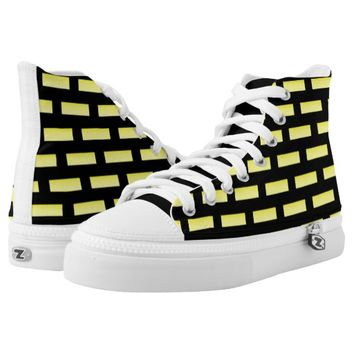 Wall Pattern Black and Yellow High-Top Sneakers