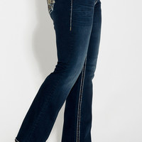 vigoss ® plus size dark wash jeans with snowflake back pockets