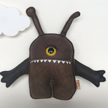Kids Plushy Toy Alien Monster Cyclops, Stuffed Plush By Leather Monsters, gifts for her, July 2015
