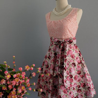 My lady - Spring Summer Sundress Pink Lace Top Purple Pink Floral Skirt Floral Party Dress Purple Floral Bridesmaid Dress Tea Dress XS-XL