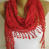 Lace Scarf with trim- Scarves-gift Ideas For Her Women's Scarves-christmas gift- for her -Fashion accessories
