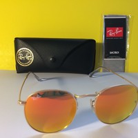 Cheap NEW RAY BAN RB3447 112/69 50-21-145 Gold / Orange Flash 50MM Round Sunglasses