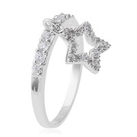 Simulated Diamond Charm Sterling Silver Ring