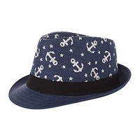 Beatnix Fashons Navy Anchor Patterned Straw Fedora