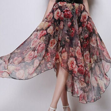 Red Vintage Floral Belt Waist Asymmetric Chiffon Skirt