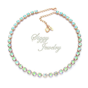 Swarovski® Crystal Necklace, 8mm Crystal Paradise Shine, Iridescent Purple, Blue, Green Hues, Assorted Finishes, Gift packaged