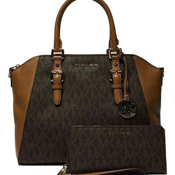 LMFON3F MICHAEL Michael Kors Ciara Large TZ Satchel bundled with Michael Kors Jet Set Travel Continental Wallet Wristlet