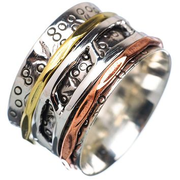 Spinner Ring - Ladder Sterling Silver Three Tone