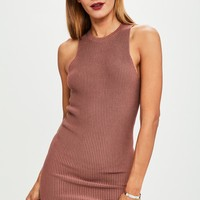 Missguided - Rust Racer Ottoman Rib Knitted Dress