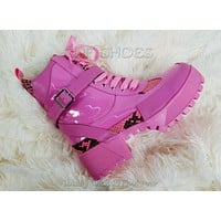 Jeepers Pink Patent Lug Sole Combat Ankle Boots 6-11