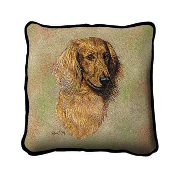 Pure Country Weavers Home Decorative Long-haired Dachshund Red Pillow Cover