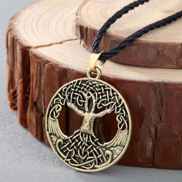 QIMING Norse Vikings Knot Amulet Pendant Necklace Women Soldiers Raven Tree of Life Charm Men Necklace Nordic Talisman Jewelry