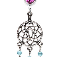 Classic Pewter Dream Catcher Belly Button Ring