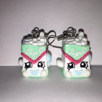 Shopkins Foodie Earrings - Sugar Lump [glitter] - made with repurposed toys
