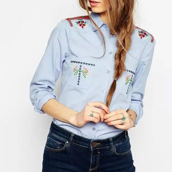 Vintage Floral Embroidery Denim Long Sleeve Turn-Down Collar Pockets Single-Breasted Top