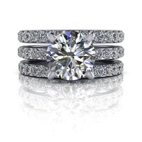 Moissanite Bridal Set-Double Band- Moissanite Engagement Ring - Forever One Moissanite Ring