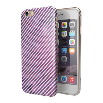 White Slanted Lines Over Pink Fumes 2-Piece Hybrid INK-Fuzed Case for the iPhone 6/6s or 6/6s Plus