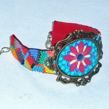 Colorful Funky Boho Cuff Hand Painted Flower Design Bohemian Beaded Bracelet