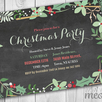 Christmas Party Invitations X-Mas Holiday Season Invites Festive Holly Foliage  INSTANT DOWNLOAD Leaves Decorations Printable Chalk Editable