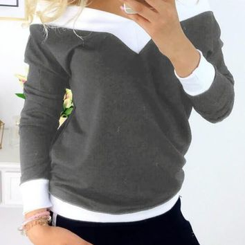 Grey Off Shoulder V-neck Long Sleeve Slouchy Casual T-Shirt