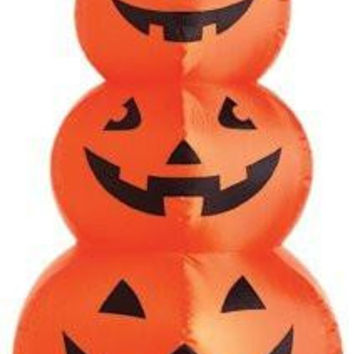 Halloween Inflatable Lawn Outdoor Decoration Stacked Orange Pumpkins Lighted 48-In.