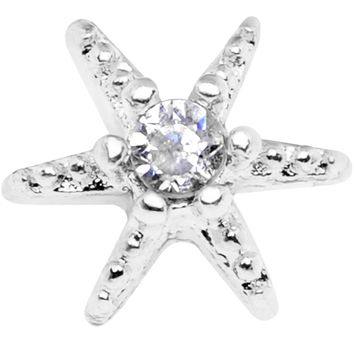 14 Gauge Clear CZ Gem Starfish Dermal Anchor Top