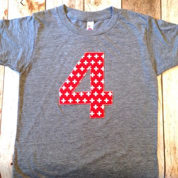 Red white swiss cross Ready to ship Any NUMBER Birthday tShirt Birthday Shirt kids 1 2 3 4 5 6 7 8 9 triblend grey camp arrow feather teepee