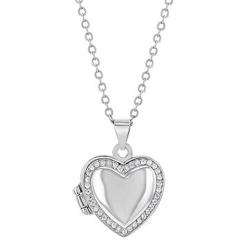 925 Sterling Silver Cubic Zirconia Heart Photo Locket Girls Necklace 16""