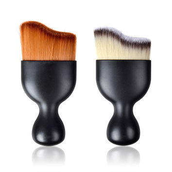 New !! S Shape Multifunctional Contour Foundation Makeup Brushes Loose Powder Brush Cream Brush Make Up Brushes 2 Color