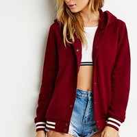 Snap-Button Varsity-Striped Hoodie